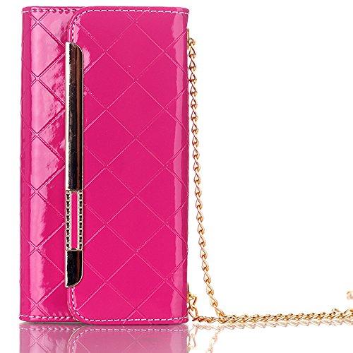 Rosa Leder Kupplung (TechCode Handytasche für iPhone 7, Stilvolle Süßigkeit Farben PU Leder Schlag Multi Envelope Wristlet Handbeutel Kupplungs Mappen Kasten für Frauen Standplatz Hülle für 4,7 Zoll iPhone 7(Rose Rosa))