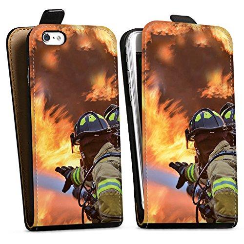Apple iPhone X Silikon Hülle Case Schutzhülle Feuerwehrmann Einsatz Firefighter Downflip Tasche schwarz
