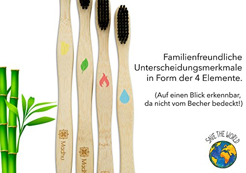 Madhu Bambus Zahnbürste im 4er-Set – vegan und biologisch abbaubare Holz Zahnbürste mit Naturborsten - 2