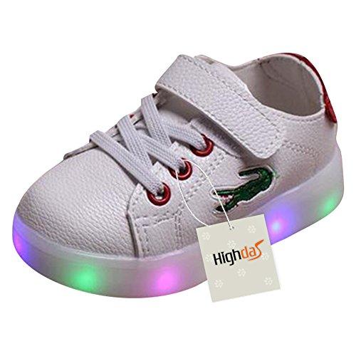 Highdas Kleinkind Jungen Mädchen LED Schuh bunte leuchten Sneakers Turnschuhe crocodile-rot