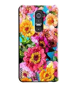 Omnam Pink Flower Pattern Puzzle Effect Printed Designer Back Cover Case For LG G2