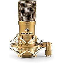 auna MIC-900G USB Micrófono de condensador • Diseño cardioide • Capsula electret de 16mm • Incluye araña con rosca adaptadora • Plug & play en Windows y Mac • Ideal para estudio de grabación, canto y locución • Dorado
