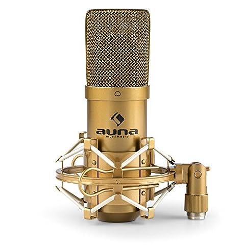 Auna MIC-900G USB Condenser Microphone • Studio Mic • USB • Large Diaphragm • Built-In 16 mm Electret Microphone Capsule • Pronunced Cardioid Characteristics • Built-In 3.5 mm Headphone Output • Includes Microphone Spider •
