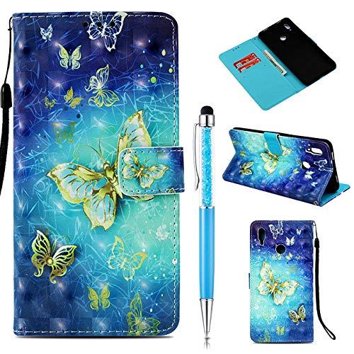 ZCRO Handytasche für Huawei Honor Note 10 (Nicht für Honor 10), Schutzhülle Hülle Flip Case 3D Bunt Muster Cover Magnet Leder Tasche Handyhüllen Kartenfach für Huawei Honor Note 10 (Schmetterling)