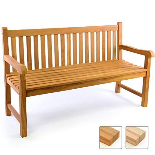 gartenbank teakholz 2 sitzer Divero 3-Sitzer Bank Holzbank Gartenbank Sitzbank 150 cm – zertifiziertes Teak-Holz behandelt hochwertig massiv – Reine Handarbeit – Wetterfest (Teak behandelt)