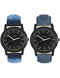 Talgo 2017 New Collection Foxter (combo Of 2) Black Round Shapped Dial Leather Strap Fashion Wrist Watch For Boys... - B0763TZN9W