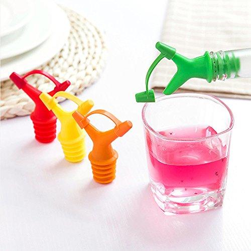 5Stück Double Stopper Kunststoff Sauce Flaschen Öl Flasche Mund Düse Kappen Wein Stopper, zufällige Farbe (Kunststoff-wein-gläser Farbe Rot)