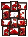 Bilderrahmen Foto Galerie in 10x15 Schwarz Weiß Violett 3D Collage Fotorahmen: Farbe: Nuss