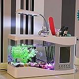 Mini Réservoir De Poissons D'aquarium Stylo Usb Décoration Créative Temps Calendrier Alarme LED Petite Lampe De Table,White