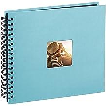 Hama Fine Art - Álbum de fotos, 50 páginas negras (25 hojas), álbum con espiral, 36 x 32 cm, con compartimento para insertar foto, turquesa