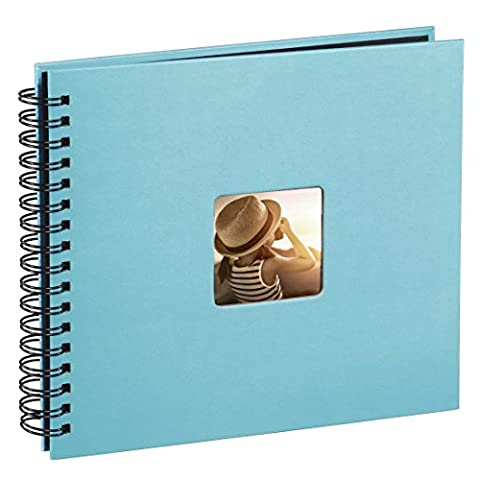 Hama Fine Art photo album, 50 black pages (25 sheets), spiral bound album 36 x 32 cm, with cut-out window in which a picture can be inserted, turquoise