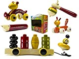 Set of 6 Colorful Wooden Tops,Whistle & ...