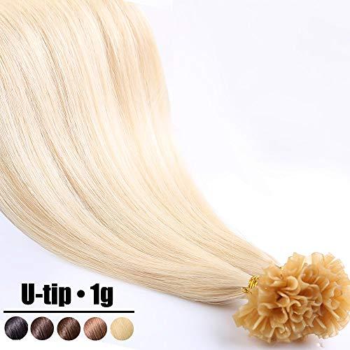 Extension cheratina capelli veri ciocche 1 grammo/ciocca pre bonded u tip allungamento 100% remy human hair - 40cm 50g #613 biondo