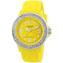 Gelbe Damen Madison New York Armbanduhr veredelt mit SWAROVSKI ELEMENTS