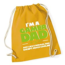 HippoWarehouse I'm a gamer dad just like a normal dad except much cooler Drawstring Cotton School Gym Kid Bag Sack 37cm x 46cm, 12 litres