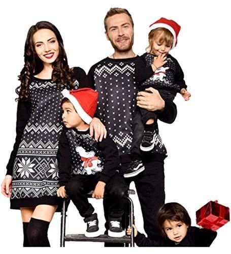 Weihnachten Schlafanzug Familien Outfit Mutter Damen Langarm Elegant T-Shirt Kleid A-Line Minikleid Vater Kind Baby Rundkrage Langarmshirt Sweatshirt Oberteile Top Hose Set Pajama ()