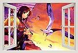 Unified Distribution Anime & Manga - Möven im Sonnenuntergang - Wandtattoo mit 3D Effekt, Aufkleber für Wände und Türen Größe: 92x61 cm, Stil: Fenster