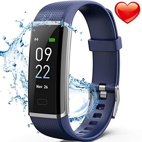 Fitness Armband,Delishee Wasserdicht IP67 Fitness Trackers mit Pulsmesser Aktivitätstracker Kalorienzähler, Pulsuhren,Schrittzähler, Vibrationsalarm Anruf SMS für iOS Android