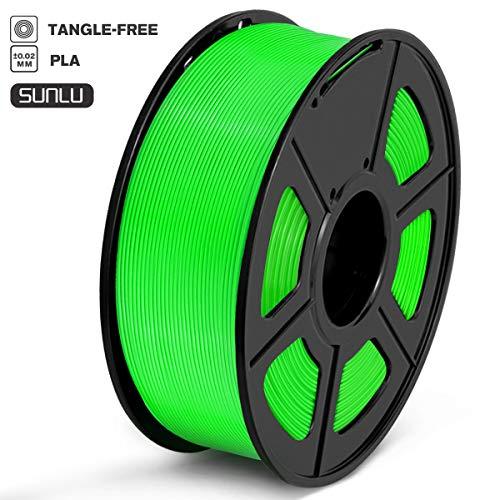 SUNLU Filamento PLA 1.75mm 1kg Impresora 3D Filamento, Precisión Dimensional +/- 0.02 mm, PLA Verde