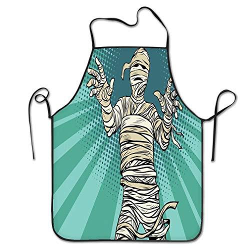RGFJJE Funny Personality Apron Vintage Egyptian Mummy Horror Movie Halloween pop Art Retro Fantasy Chef Kitchen Aprons 20.4 * 28.3 inch