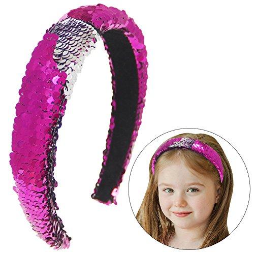 agie Reversible Pailletten Stirnband Meerjungfrau Gepolsterte Haarband für Mädchen Pferdeschwanz Party Yoga Wash Gesicht (rot / silber) (Meerjungfrau Stirnband)