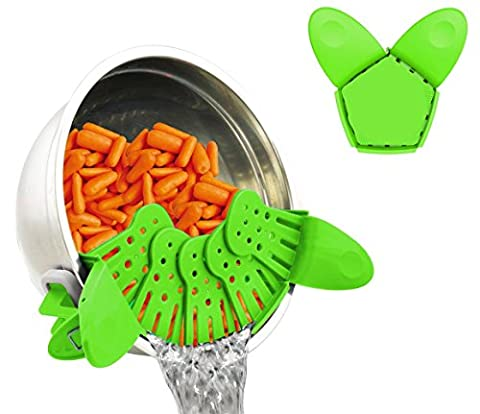 Colander, SUNKAX Universal Collapsible Colander, Clip-on Silicone Strainer Suitable for all sizes of pots Pans & bowls Dishwasher Safe Colander and Drainer Perfect for Draining Paghetti, Pasta, Vegetables, Fruits etc (Green)
