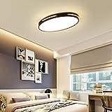 Ultra thin Deckenleuchte LED 3 Farbe Dimmbar Oval Modern Design Deckenlampe Kleines Schlafzimmer Arbeitszimmer Beleuchtung Leuchte Einfach Decken Eisen Acryl Lampe 58cm * 38cm * 5cm 24W (Schwarz)