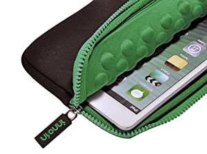"""Nimbus 7"""" Universal Anti-Shock Tablet PC Sleeve/Case - Protective Cover For Nexus 7 1 & 2(2012/2013), iPad Mini, & Other Devices (Black Green)"""