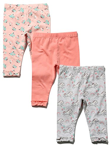 M&Co Baby Girl Cotton Rich Stretch Grey Pink & Coral Plain Unicorn Print Frill Hem Leggings Three Pack