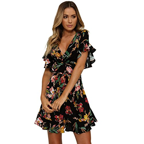 BZLine Damen Kurzarm Floral Mini Dress Summer Party Maxi Strand Kleider (S, Schwarz)