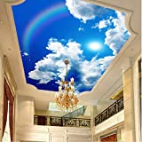 Large Ceiling Mural Wallpaper Blue Sky And White Clouds Rainbow Nature Landscape Ceiling Murals Restaurant Home Decor 3DXXL 350X256CM