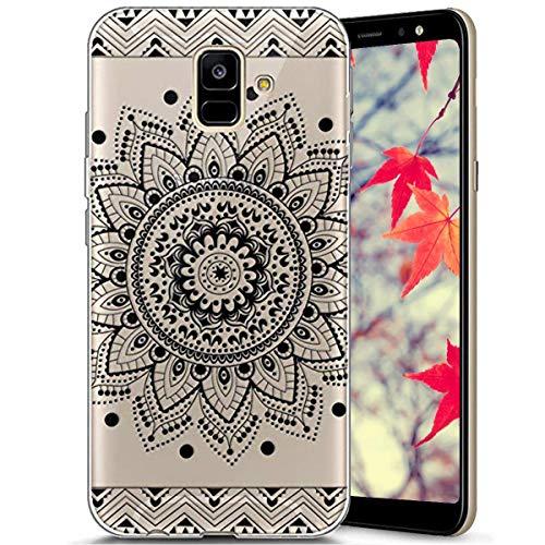 Surakey Compatible avec Coque Samsung Galaxy A6 2018,Transparente Silicone Housse Étui Protection TPU Bumper Téléphone Couverture Crystal Clair Coque pour Galaxy A6 2018 (Noir Mandala Fleur)