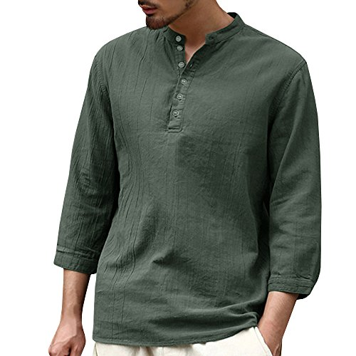 Herren Langarmshirt Henley Freizeithemd Regular Fit Kragenloses Shirt