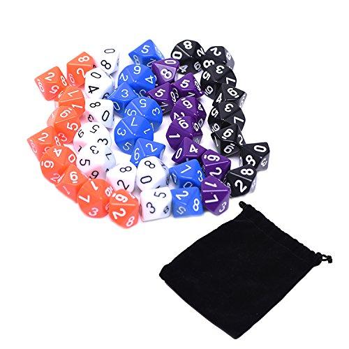 Blulu Polyedrische Würfel 10 Seitig mit Schwarzer Tasche, 5 Farben, 50 Stück (Würfel Beutel Orange)