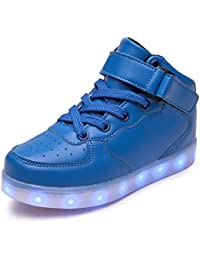 Boys Girls Kids Light Up Led Lace Up Touch Fastening Trainers Wheeled Shoes Size