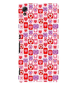 Hearts Pattern 3D Hard Polycarbonate Designer Back Case Cover for Sony Xperia Z4