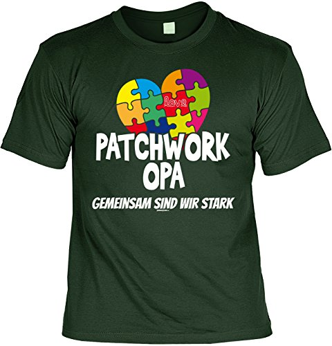 Geschenkidee Opa T-Shirt Patchwork Opa Gemeinsam sind wir stark Geschenk für Opa lustiges Shirt für Opa Vatertag Großvater Funshirt Dunkelgrün