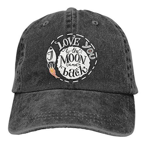 j65rwjtrhtr Men's/Women's Adjustable Vintage Jeans Baseball Kappen I Love You to The Moon and Back Plain Cap