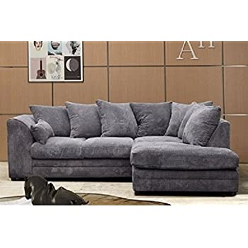 logan corner sofa rhf jumbo cord fabric grey