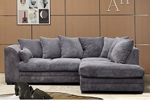 Logan Corner Sofa RHF Jumbo Cord Fabric - Grey