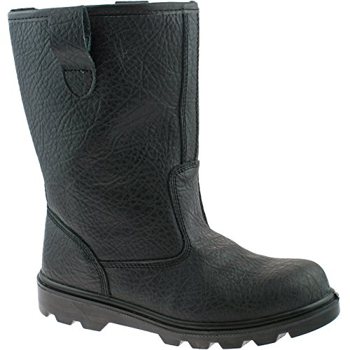 Grafters Steel Toe Safety Rigger Boots Size UK 6-15 Work Black or Tan M021 KD-Black-UK 7 (EU 41) Black Steel Toe Work Boot