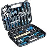 TecTake 402789 Universal Werkzeugkoffer 57 teilig, mit Werkzeug gefüllt | für Haushalt, Garage & Werkstatt | mit Hammer, Schraubendreher, Zange u.v.a.m.