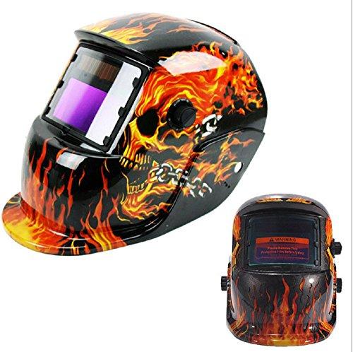 SAILUN Solar Automatik Schweißschild Maske Schweißhelm Schweißschirm Gesichtsmaske Farbe Flames Schädel (Modell 1)