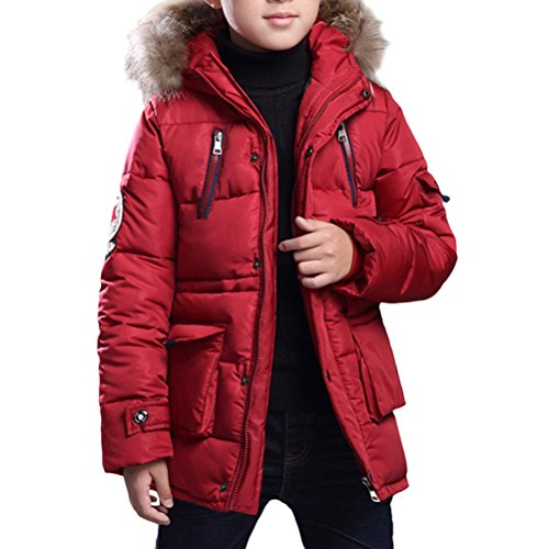 Zhhlinyuan Big Kinder Winter Hooded Cotton Jacket Fashion Boys Simple Solid Color Outwear
