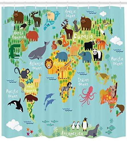 ABAKUHAUS Viajeros Cortina de Baño, Animal Mapa del Mundo para Niños Dibujos Infantil Montaña Bosque, Estampa Digital Tela Lavable Antibacterial Set de 12 Ganchos, 175 X 200 cm, Verde Amarillento