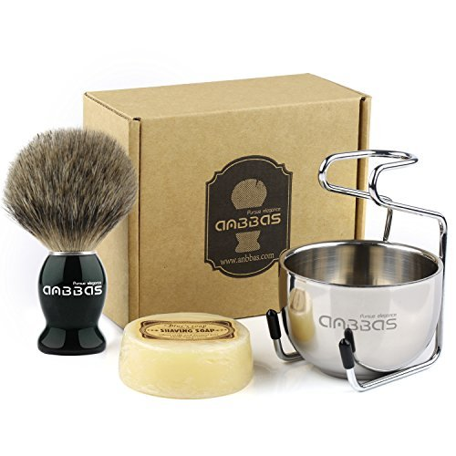 Shaving Brush Set,4in1 Anbbas Best Badger Bristles Shaving Brush Black Wood Handle and Goat Milk Soap,Stainless Steel Shaving Stand and Soap Cup Kit Perfect for Men Men's Manual Shaving