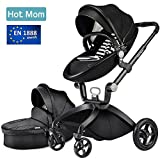Hot Mom Limited Edition Kombikinderwagen mit Buggyaufsatz und Babywanne 3-in-1 Travelsystem Funktion 2017,Schwarz