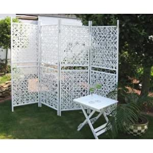 4tlg design paravent sichtschutz raumteiler trennwand weiss metall kunststoff. Black Bedroom Furniture Sets. Home Design Ideas