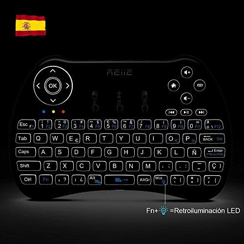 Reiie H9Plus Mini Touchpad Teclado Inalámbrico retroiluminado ,Color Negro QWERTY(tiene Ñ)