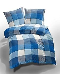 1 tlg. etérea Microfaser Bettwäsche Lola Kariert Karo Blau Weiß, 40x80 cm Kissenbezug